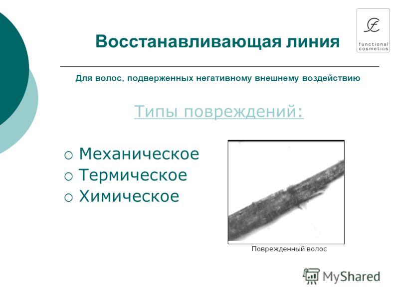 Восстанавливающая линия Для волос, подверженных негативному внешнему воздействию Типы повреждений: Механическое Термическое Химическое Поврежденный волос