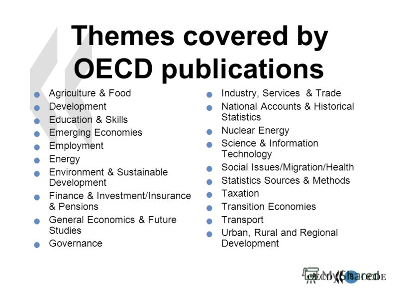8 Themes covered by OECD publications Agriculture & Food Development Education & Skills Emerging Economies Employment Energy Environment & Sustainable Development Finance & Investment/Insurance & Pensions General Economics & Future Studies Governance