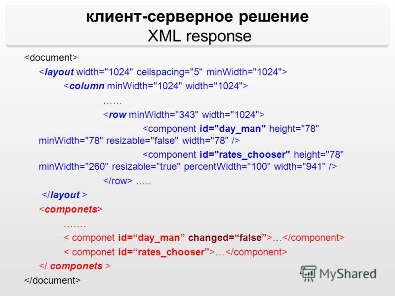 …… ….. ……. … клиент-серверное решение XML response