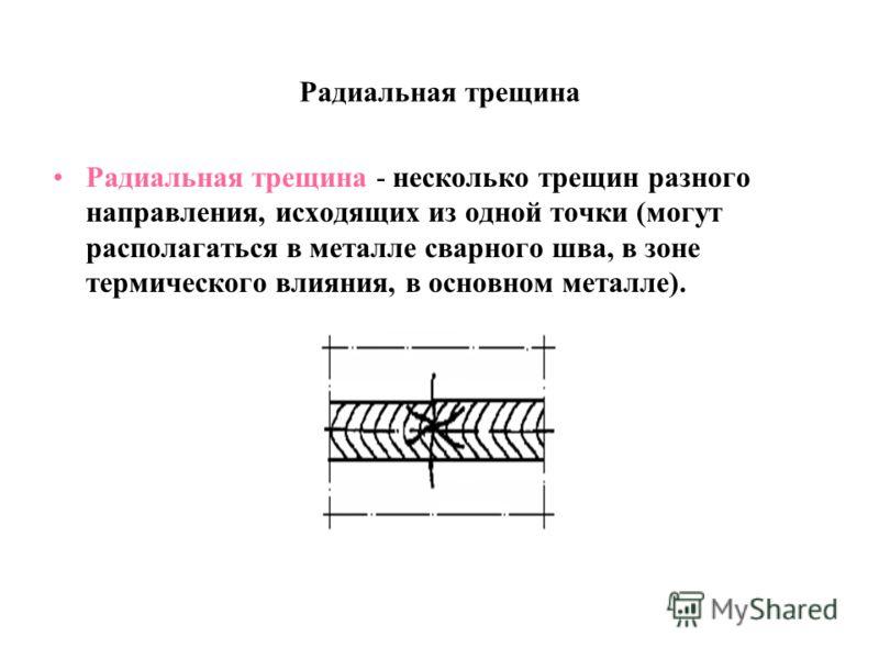 Радиальная трещина Радиальная трещина - несколько трещин разного направления, исходящих из одной точки (могут располагаться в металле сварного шва, в зоне термического влияния, в основном металле).