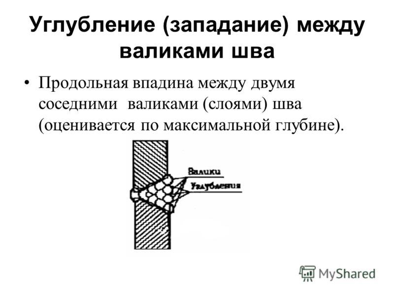 Углубление (западание) между валиками шва Продольная впадина между двумя соседними валиками (слоями) шва (оценивается по максимальной глубине).