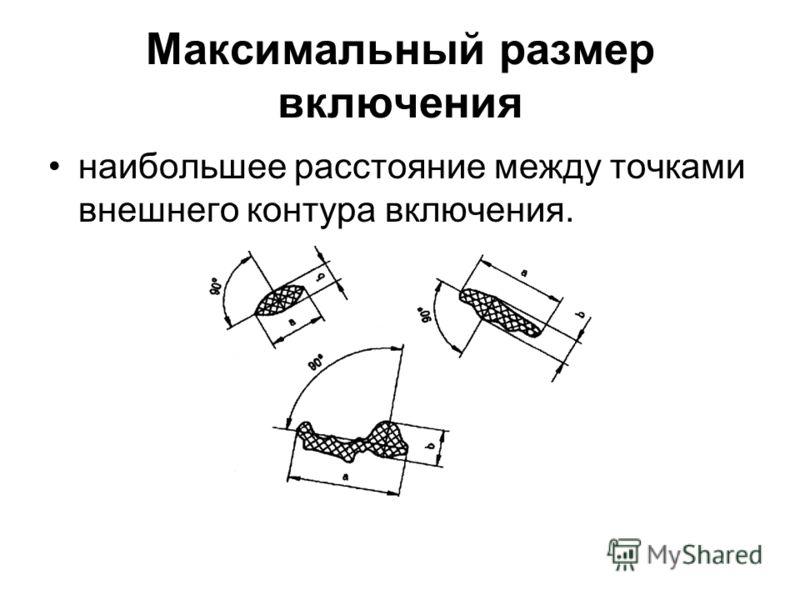 Максимальный размер включения наибольшее расстояние между точками внешнего контура включения.
