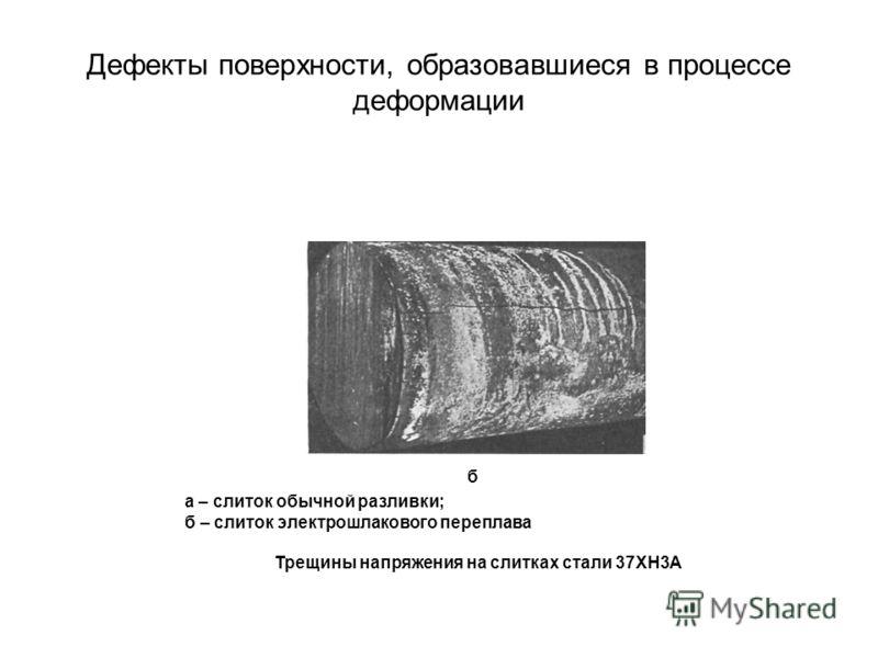Дефекты поверхности, образовавшиеся в процессе деформации б а – слиток обычной разливки; б – слиток электрошлакового переплава Трещины напряжения на слитках стали 37ХН3А