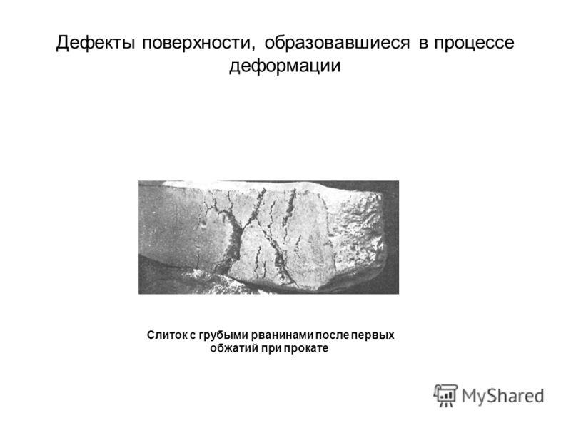 Дефекты поверхности, образовавшиеся в процессе деформации Слиток с грубыми рванинами после первых обжатий при прокате
