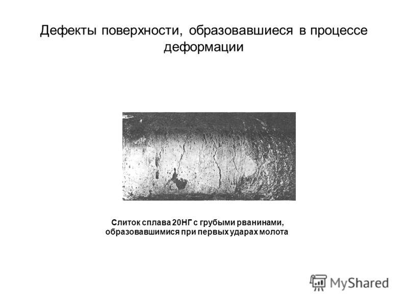 Дефекты поверхности, образовавшиеся в процессе деформации Слиток сплава 20НГ с грубыми рванинами, образовавшимися при первых ударах молота