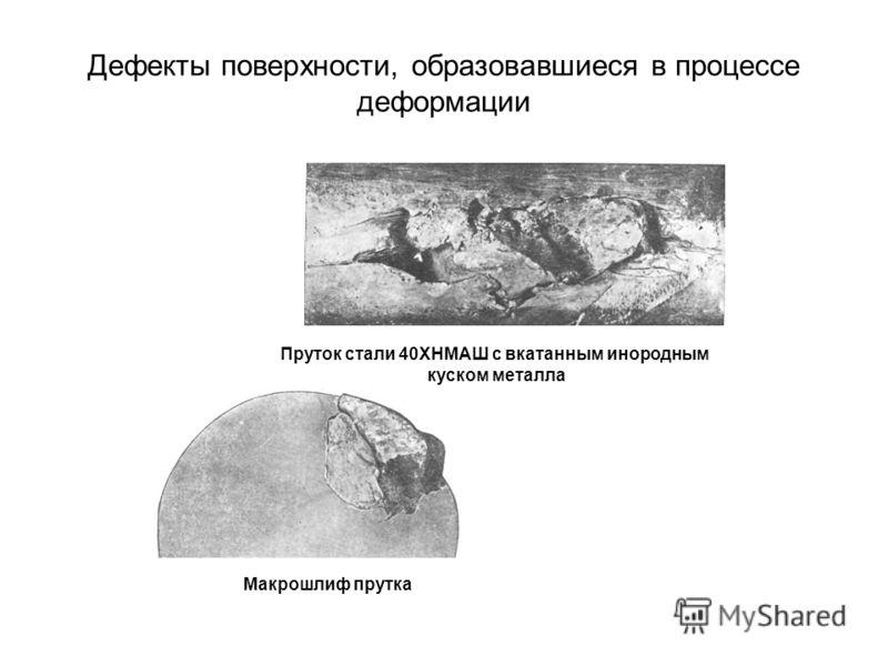 Дефекты поверхности, образовавшиеся в процессе деформации Пруток стали 40ХНМАШ с вкатанным инородным куском металла Макрошлиф прутка