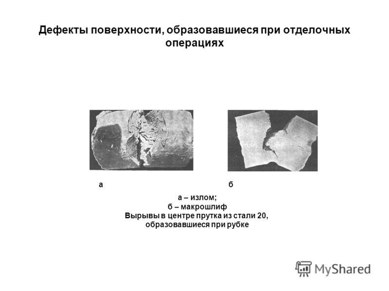 Дефекты поверхности, образовавшиеся при отделочных операциях а б а – излом; б – макрошлиф Вырывы в центре прутка из стали 20, образовавшиеся при рубке
