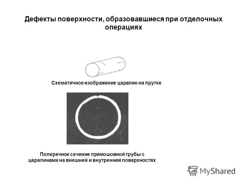 Дефекты поверхности, образовавшиеся при отделочных операциях Схематичное изображение царапин на прутке Поперечное сечение прямошовной трубы с царапинами на внешней и внутренней поверхностях