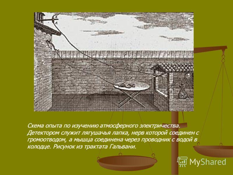 Схема опыта по изучению атмосферного электричества. Детектором служит лягушачья лапка, нерв которой соединен с громоотводом, а мышца соединена через проводник с водой в колодце. Рисунок из трактата Гальвани.