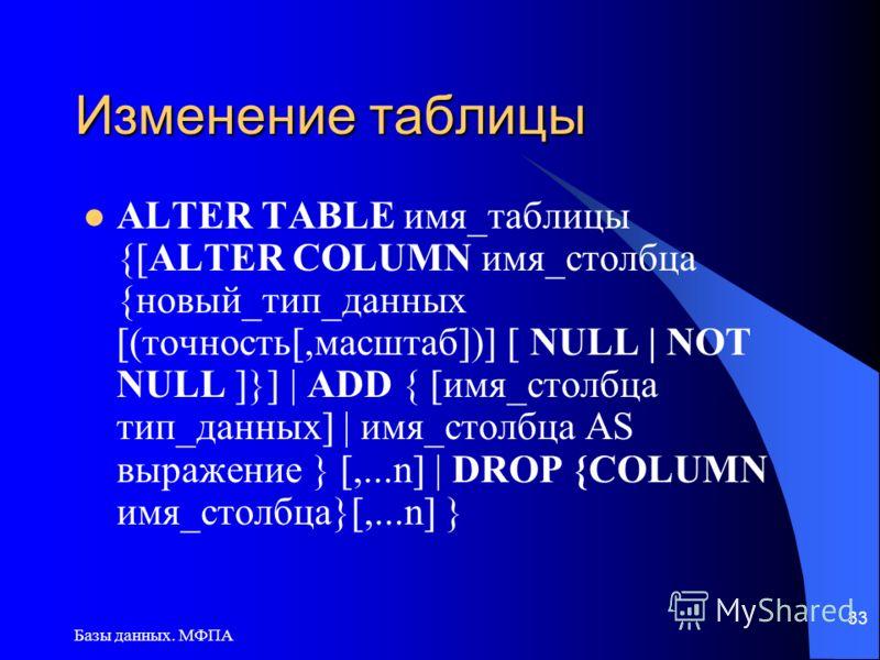 Базы данных. МФПА 33 Изменение таблицы ALTER TABLE имя_таблицы {[ALTER COLUMN имя_столбца {новый_тип_данных [(точность[,масштаб])] [ NULL | NOT NULL ]}] | ADD { [имя_столбца тип_данных] | имя_столбца AS выражение } [,...n] | DROP {COLUMN имя_столбца}