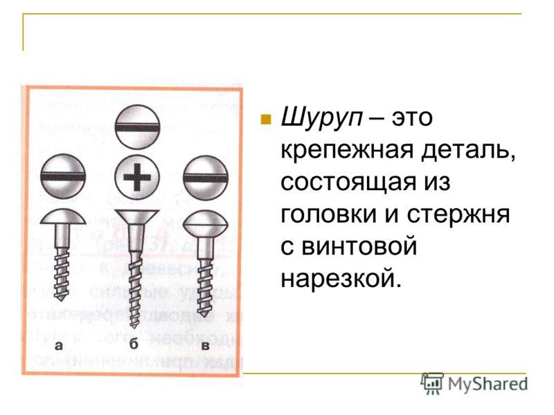 Шуруп – это крепежная деталь, состоящая из головки и стержня с винтовой нарезкой.