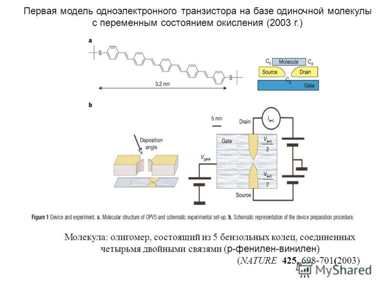 Молекула: олигомер, состоящий из 5 бензольных колец, соединенных четырьмя двойными связями ( p-фенилен-винилен) (NATURE 425, 698-701(2003) Первая модель одноэлектронного транзистора на базе одиночной молекулы с переменным состоянием окисления (2003 г