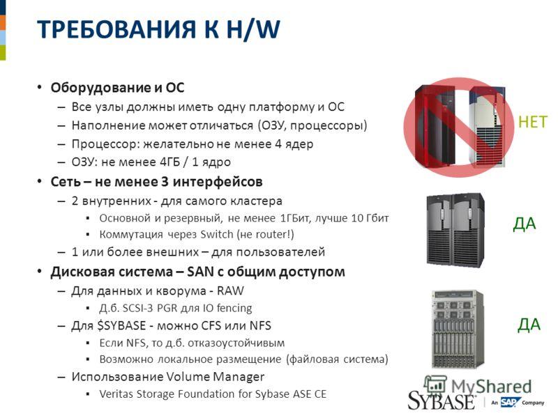 ТРЕБОВАНИЯ К H/W Оборудование и ОС – Все узлы должны иметь одну платформу и ОС – Наполнение может отличаться (ОЗУ, процессоры) – Процессор: желательно не менее 4 ядер – ОЗУ: не менее 4ГБ / 1 ядро Сеть – не менее 3 интерфейсов – 2 внутренних - для сам