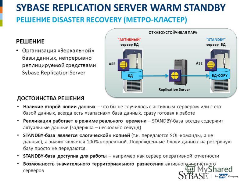 SYBASE REPLICATION SERVER WARM STANDBY РЕШЕНИЕ DISASTER RECOVERY (МЕТРО-КЛАСТЕР) РЕШЕНИЕ Организация «Зеркальной» базы данных, непрерывно реплицируемой средствами Sybase Replication Server БД АКТИВНЫЙ сервер БД БД-COPY ASE STANDBY сервер БД Replicati