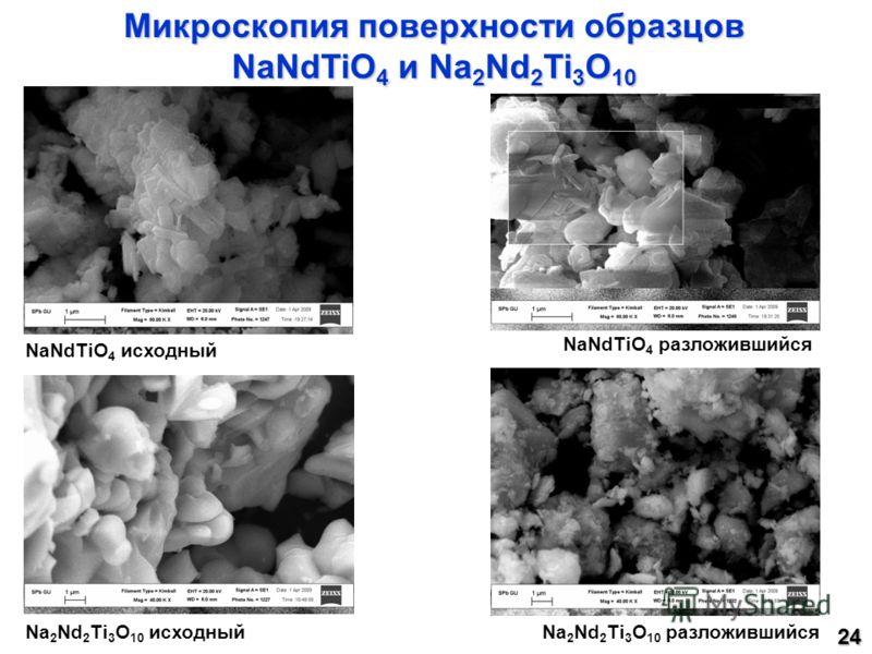 Микроскопия поверхности образцов NaNdTiO 4 и Na 2 Nd 2 Ti 3 O 10 NaNdTiO 4 исходный NaNdTiO 4 разложившийся Na 2 Nd 2 Ti 3 O 10 исходныйNa 2 Nd 2 Ti 3 O 10 разложившийся 24