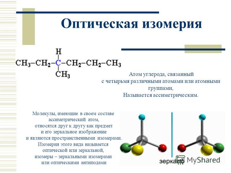 Оптическая изомерия Атом углерода, связанный с четырьмя различными атомами или атомными группами, Называется ассиметрическим. Молекулы, имеющие в своем составе ассиметрический атом, относятся друг к другу как предмет и его зеркальное изображение и яв