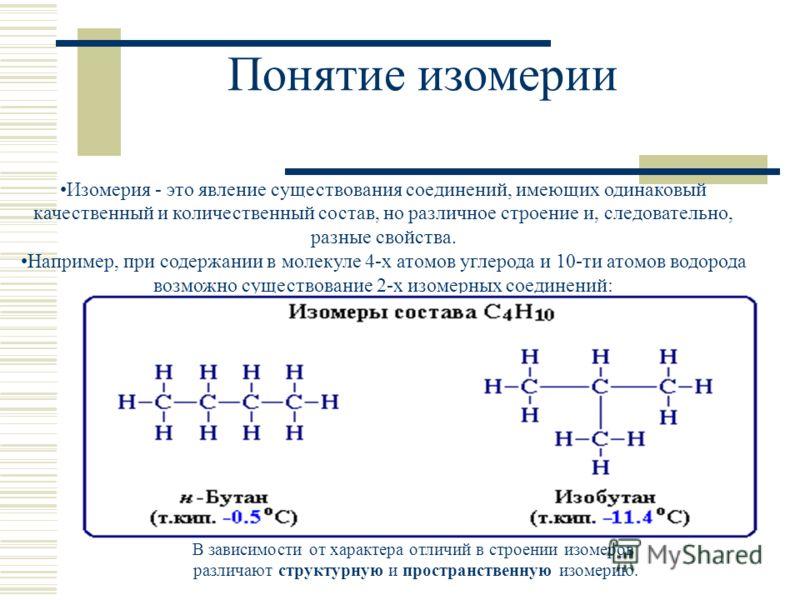 Понятие изомерии Изомерия - это явление существования соединений, имеющих одинаковый качественный и количественный состав, но различное строение и, следовательно, разные свойства. Например, при содержании в молекуле 4-х атомов углерода и 10-ти атомов