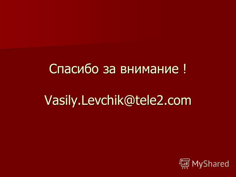 Спасибо за внимание ! Vasily.Levchik@tele2.com