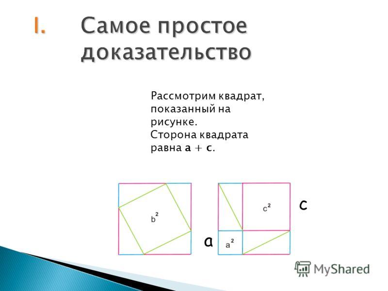 Рассмотрим квадрат, показанный на рисунке. Сторона квадрата равна a + c. c a