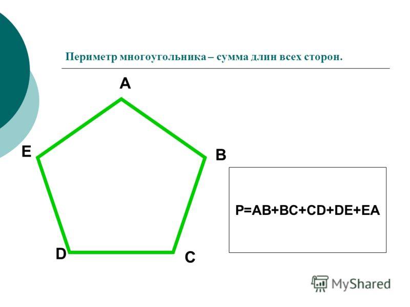 Периметр многоугольника – сумма длин всех сторон. A B C D E P=AB+BC+CD+DE+EA