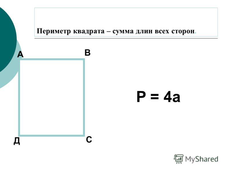 Периметр квадрата – сумма длин всех сторон. А В С Д P = 4a