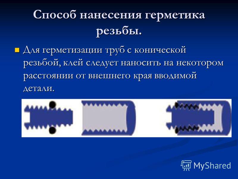 Способ нанесения герметика резьбы. Для герметизации труб с конической резьбой, клей следует наносить на некотором расстоянии от внешнего края вводимой детали. Для герметизации труб с конической резьбой, клей следует наносить на некотором расстоянии о