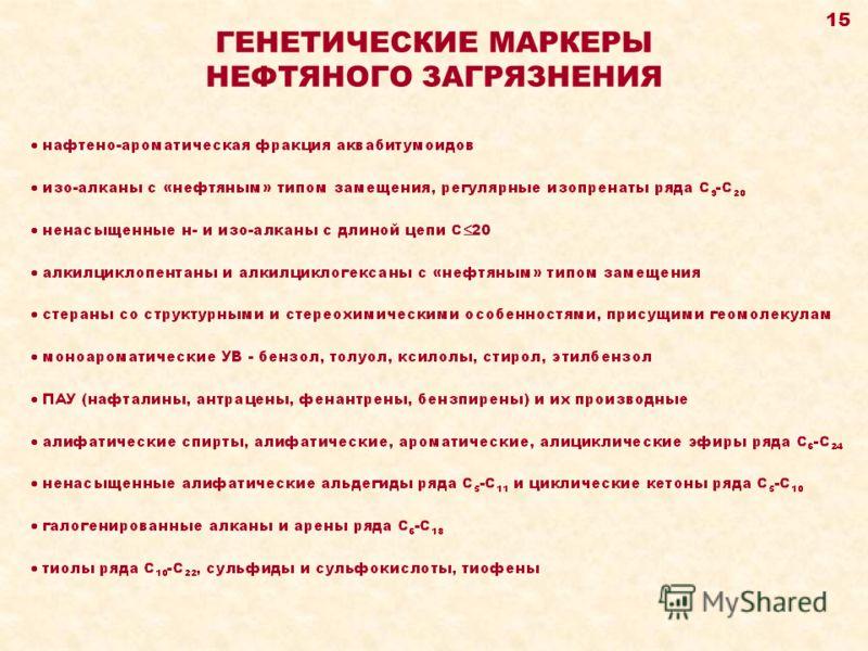 ГЕНЕТИЧЕСКИЕ МАРКЕРЫ НЕФТЯНОГО ЗАГРЯЗНЕНИЯ 15