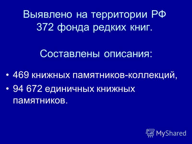 Выявлено на территории РФ 372 фонда редких книг. Составлены описания: 469 книжных памятников-коллекций, 94 672 единичных книжных памятников.