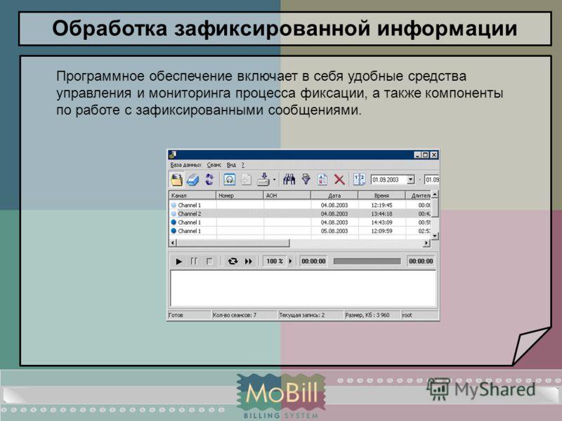 Обработка зафиксированной информации Программное обеспечение включает в себя удобные средства управления и мониторинга процесса фиксации, а также компоненты по работе с зафиксированными сообщениями.