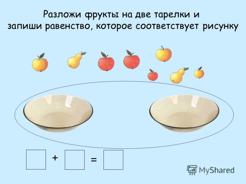 Разложи фрукты на две тарелки и запиши равенство, которое соответствует рисунку + =