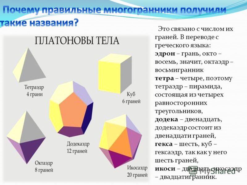 Это связано с числом их граней. В переводе с греческого языка: эдрон – грань, окто – восемь, значит, октаэдр – восьмигранник тетра – четыре, поэтому тетраэдр – пирамида, состоящая из четырех равносторонних треугольников, додека – двенадцать, додекаэд