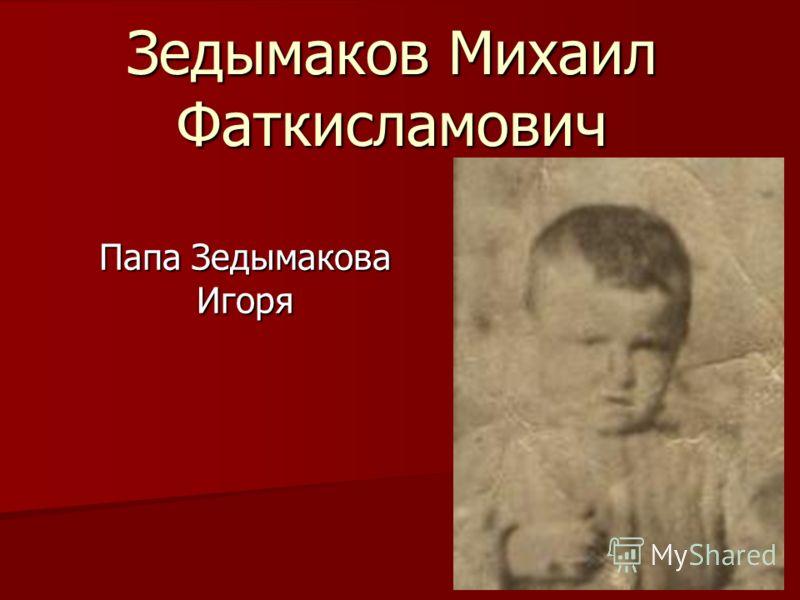 Зедымаков Михаил Фаткисламович Папа Зедымакова Игоря