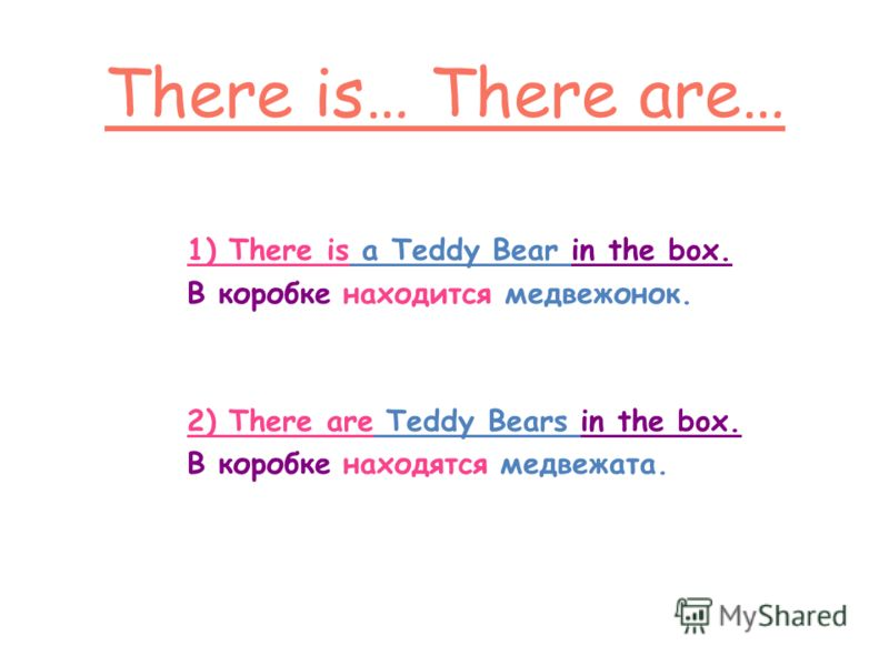 1) There is a Teddy Bear in the box. В коробке находится медвежонок. 2) There are Teddy Bears in the box. В коробке находятся медвежата.