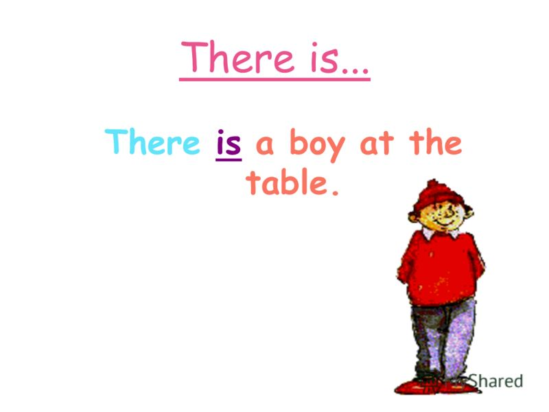 There is... There is a boy at the table.