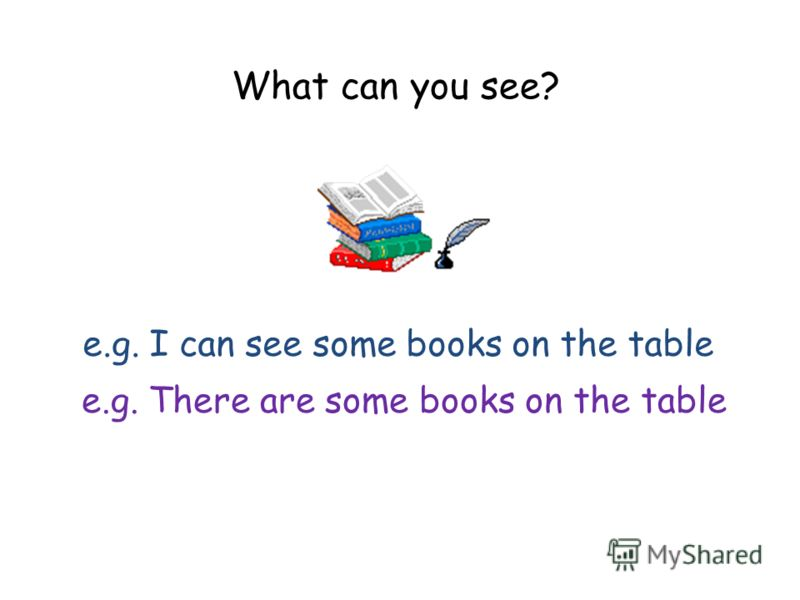 What can you see? e.g. I can see some books on the table e.g. There are some books on the table