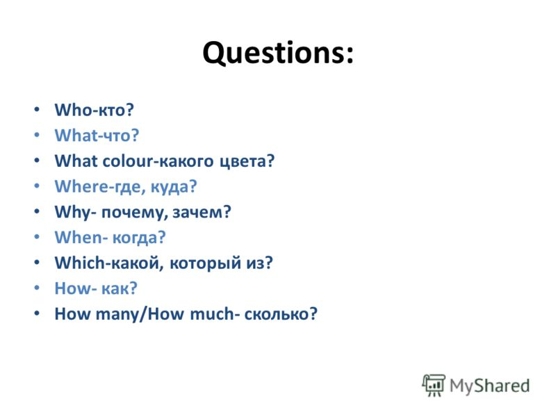Questions: Who-кто? What-что? What colour-какого цвета? Where-где, куда? Why- почему, зачем? When- когда? Which-какой, который из? How- как? How many/How much- сколько?