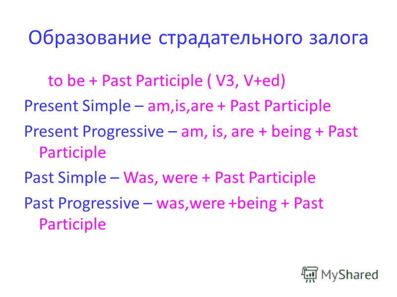 Образование страдательного залога to be + Past Participle ( V3, V+ed) Present Simple – am,is,are + Past Participle Present Progressive – am, is, are + being + Past Participle Past Simple – Was, were + Past Participle Past Progressive – was,were +bein