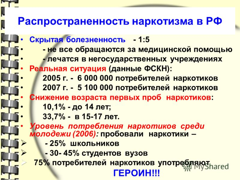 Распространенность наркотизма в РФ