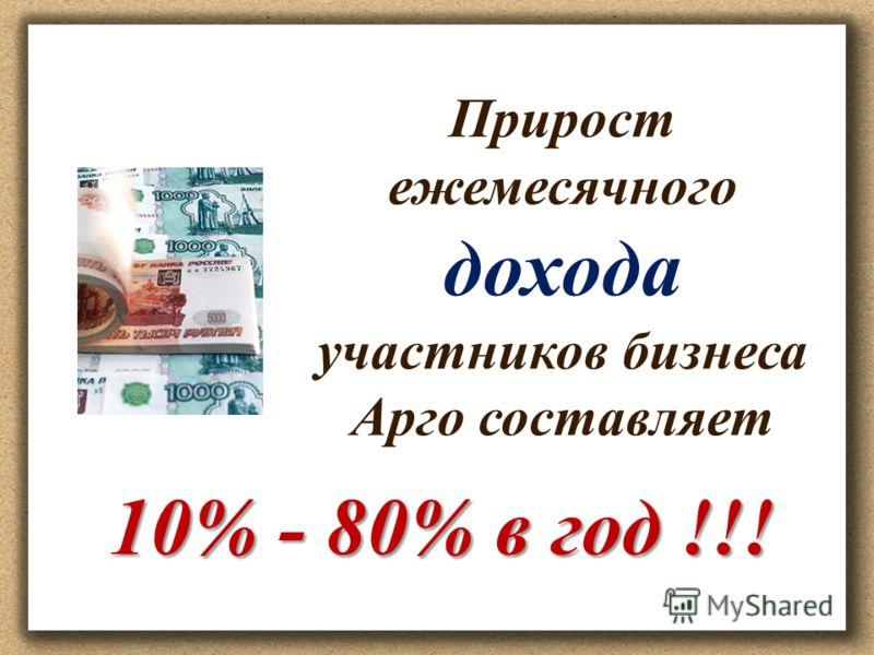 Прирост ежемесячного дохода участников бизнеса Арго составляет 10% - 80% в год !!!
