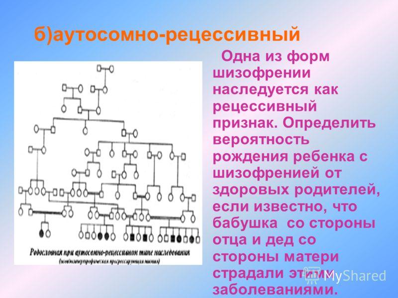 б)аутосомно-рецессивный Одна из форм шизофрении наследуется как рецессивный признак. Определить вероятность рождения ребенка с шизофренией от здоровых родителей, если известно, что бабушка со стороны отца и дед со стороны матери страдали этими заболе