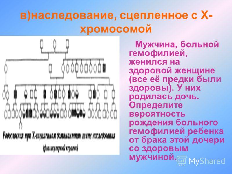 в)наследование, сцепленное с Х- хромосомой Мужчина, больной гемофилией, женился на здоровой женщине (все её предки были здоровы). У них родилась дочь. Определите вероятность рождения больного гемофилией ребенка от брака этой дочери со здоровым мужчин