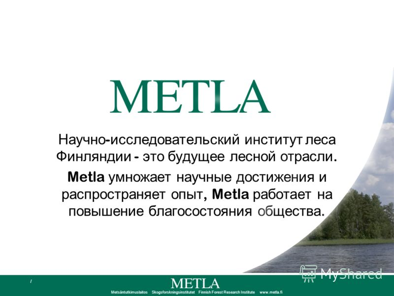 Metsäntutkimuslaitos Skogsforskningsinstitutet Finnish Forest Research Institute www.metla.fi / Научно - исследовательский институт леса Финляндии - это будущее лесной отрасли. Metla умножает научные достижения и распространяет опыт, Metla работает н