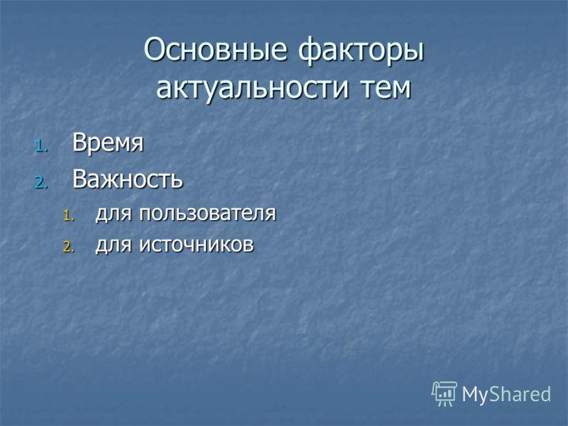 Основные факторы актуальности тем 1. Время 2. Важность 1. для пользователя 2. для источников