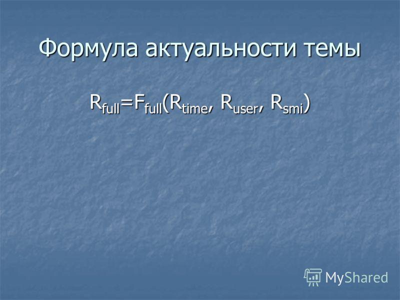 Формула актуальности темы R full =F full (R time, R user, R smi )
