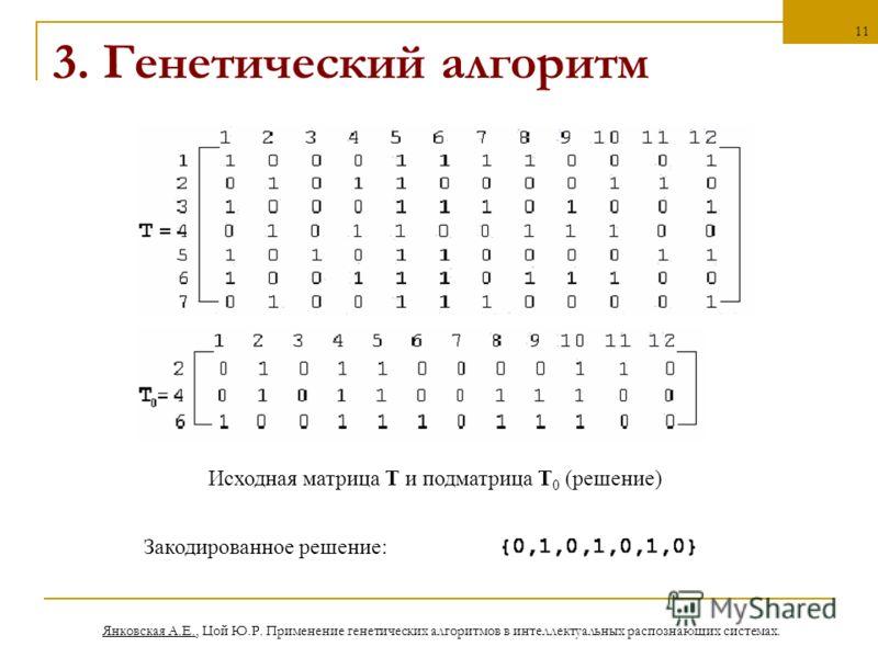 Янковская А.Е., Цой Ю.Р. Применение генетических алгоритмов в интеллектуальных распознающих системах. 11 3. Генетический алгоритм Исходная матрица Т и подматрица Т 0 (решение) Закодированное решение: