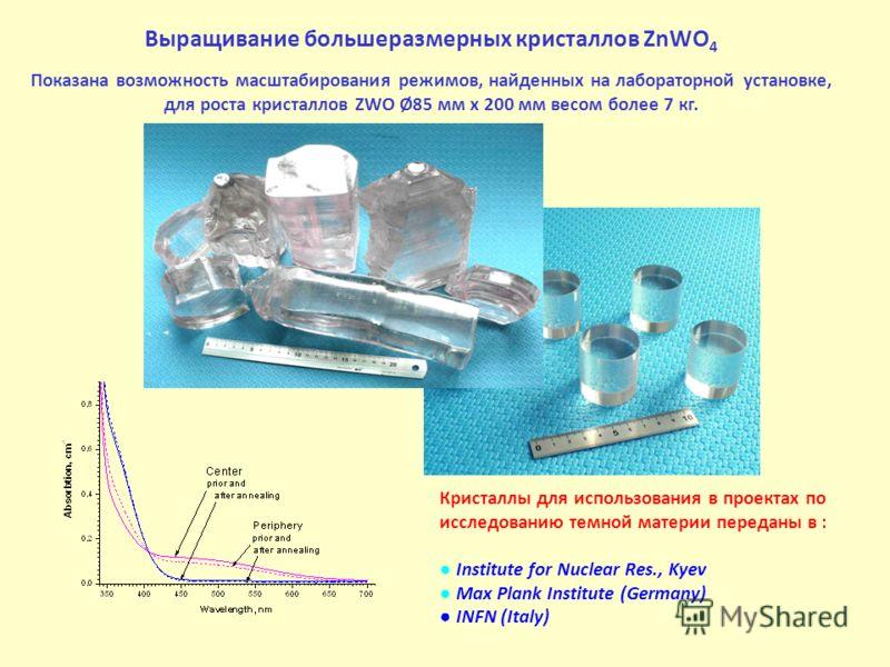 Выращивание большеразмерных кристаллов ZnWO 4 Показана возможность масштабирования режимов, найденных на лабораторной установке, для роста кристаллов ZWO Ø85 мм x 200 мм весом более 7 кг. Кристаллы для использования в проектах по исследованию темной