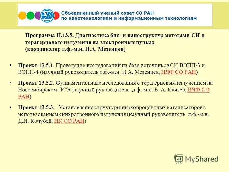 Программа II.13.5. Диагностика био- и наноструктур методами СИ и терагерцового излучения на электронных пучках (координатор д.ф.-м.н. Н.А. Мезенцев) Проект 13.5.1. Проведение исследований на базе источников СИ ВЭПП-3 и ВЭПП-4 (научный руководитель д.