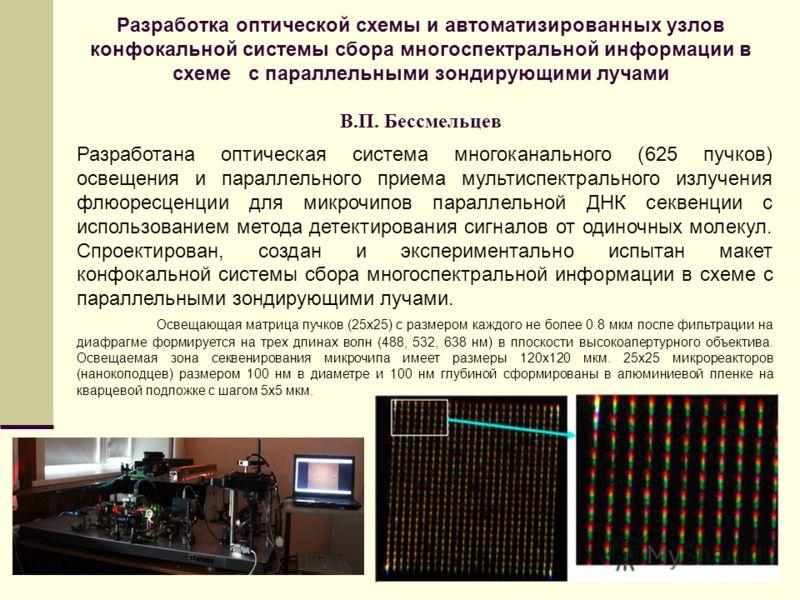 Разработка оптической схемы и автоматизированных узлов конфокальной системы сбора многоспектральной информации в схеме с параллельными зондирующими лучами В.П. Бессмельцев Разработана оптическая система многоканального (625 пучков) освещения и паралл