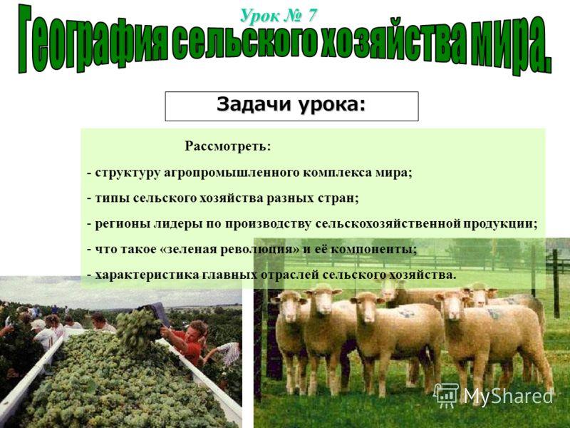 Урок 7 Задачи урока: Рассмотреть: - структуру агропромышленного комплекса мира; - типы сельского хозяйства разных стран; - регионы лидеры по производству сельскохозяйственной продукции; - что такое «зеленая революция» и её компоненты; - характеристик