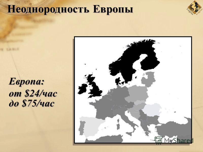 Европа: от $24/час до $75/час Неоднородность Европы